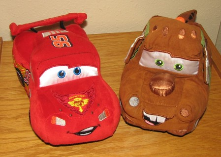 Disney Store Cars Plush Lightning McQueen & Mater - VGUC