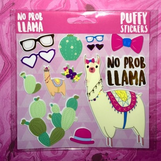 1 New Pack of No Problem Llama Puffy Stickers, by Crown Jewlz.