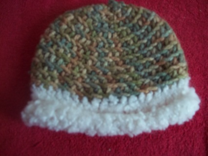Crocheted Ombre and White Baby Hat