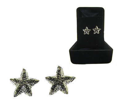 2 Tone WHITE GOLD & GUN METAL BLACK CZ STARFISH EARRINGS BOXED!!!!