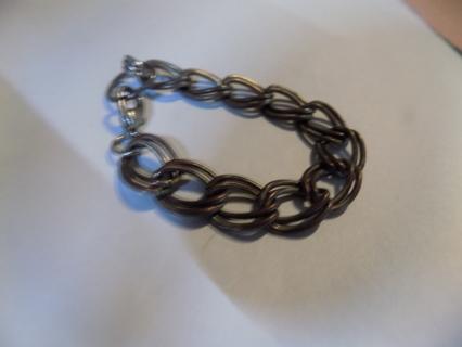 Gunmetal large link bracelet double looped