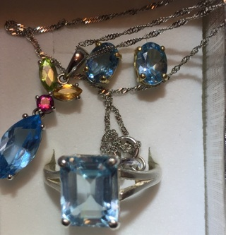 Blue Topaz Earrings, Ring & Necklace