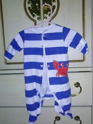 blue/white striped outfit