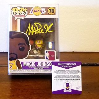 Wow! Bas/ BECKETT >certified authentic autograph _MAGIC JOHNSON pop funko >LOS ANGELES LAKERS *SICK!
