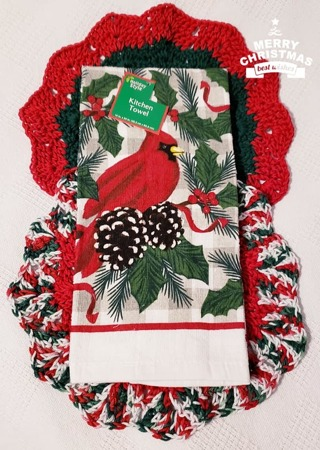 "Crochet 2 - 9"" Dish Cloth/Wash Cloths/1 Fall Dish Towel"