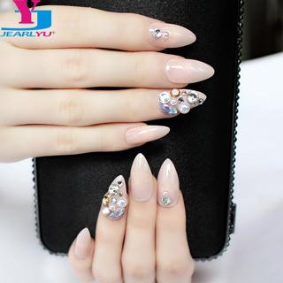 False Nails 3D Shiny Designs 24pcs Full Nail Tips Crystal Pink Fake Nails With Glue Stiletto Rhine