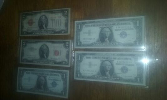 two different $2.00 red seals and silver certificates