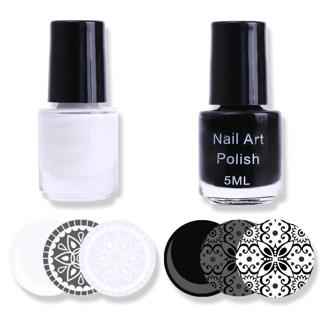 2 Bottles White Black Nail Stamping Polish Manicure Nail Art Print Stamp Varnish Set Stamping Lacq