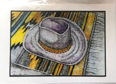 "Cowboy Hat - 5 x 7"" art card by artist Nina Struthers - GIN ONLY"