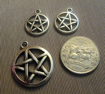 1 Large Silvertone Pentagram Pentacle and 2 Smaller Charms