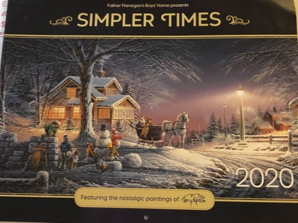 Brand New Sept 2019- Dec 2020 (Simpler Times: Featuring Nostalgic Paintings) Wall Calendar.