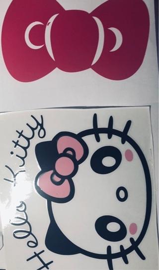 2 Lg Vinyl Hello Kitty Car Window Mirror Decals