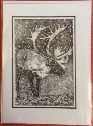 "SNOW CARIBOU - 5 x 7"" art card by artist Nina Struthers - GIN ONLY"