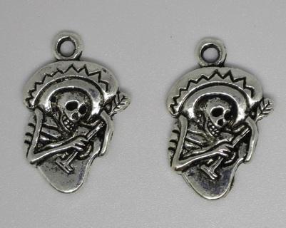 Skeleton Mariachi Guitar Player - 2 Charms Silver tone Metal