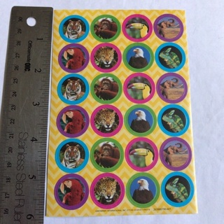 WILD ZOO ANIMALS STICKER SHEET NEW