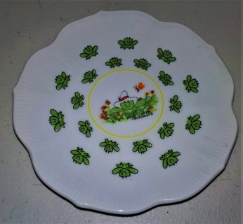 """1981 Janice Donelson ENESCO Frog plate dish - 5"""" diameter - Excellent condition (no defects)"""