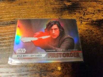 2020 Star Wars Perspectives Kylo Rens Lightsaber refractor card