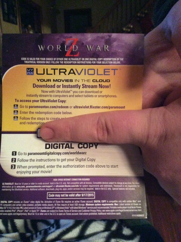 Free: World War Z UV Digital Movie Code - Other DVDs