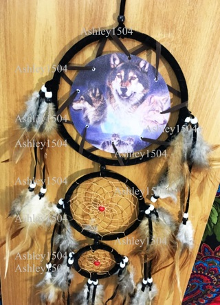 1 mystic wolf dream catcher wall art decor