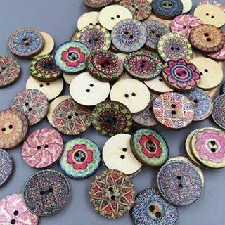 50Pcs/lot Retro Wood 2 Holes Button Mixed Color Flower Apparel Sewing DIY