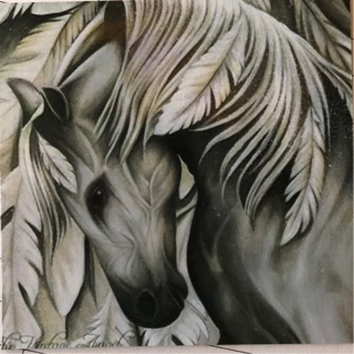 """Beautiful Silver Horse - 3 x 3"""" MAGNET"""