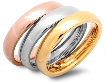 3 RINGS UNISEX TRI COLOR GOLD STAINLESS STEEL RING SET  Wear 1, 2 or 3 OR GIFT NEW!
