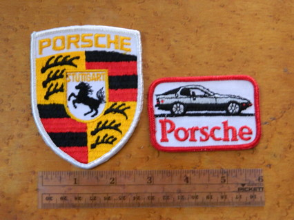 2 Vintage Porsche Patches - FREE Shipping