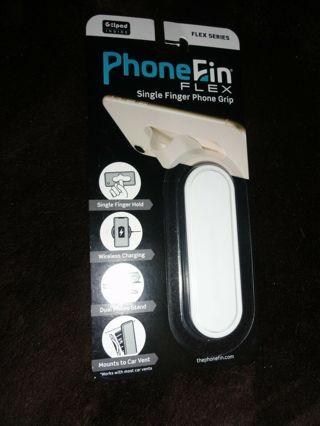 Phone Fin Flex Series White Single Finger Phone Grip Stand Attachment PhoneFin Pop Holder