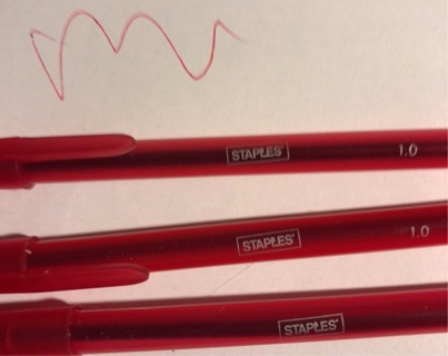 """THREE Brand New """"STAPLES"""" Ultra Smooth Red Writing Ballpoint Pens. Winner Gets 3 Red!"""