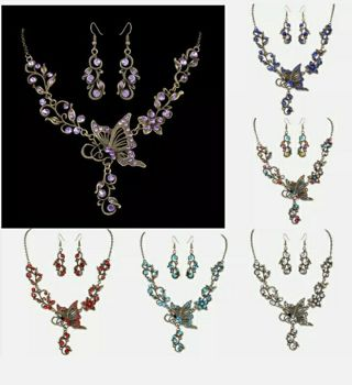Retro Butterfly Crystal Rhinestone Bridal Necklace Earrings Set Women Jewelry