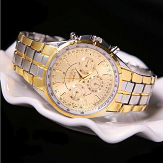 [GIN FOR FREE SHIPPING] Fashion Men Date Gold Dial Stainless Steel Analog Quartz Wrist Watch