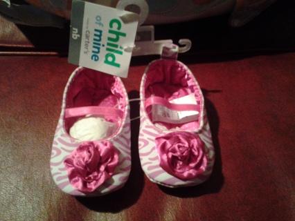 NWT Carters Pink Zebra Print NB Shoes