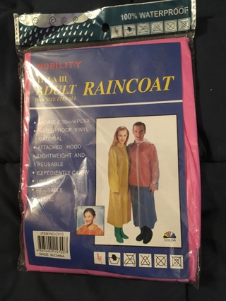 Adult RAINCOAT - One Size Fits All - by Nobility - Pink - Brand New!!! Sealed!!! Ships FREE!!!
