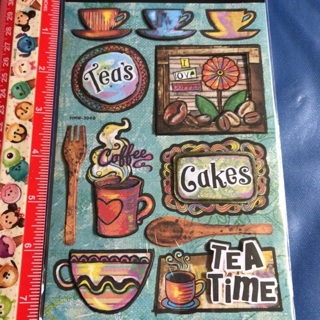 SALE Tea Time Rainbow Drawing Dimensional Sticker Sheet BRAND NEW