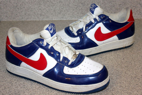 7377937295 GIN RARE 2004 NIKE AIR FORCE 1 Independence Day WHITE Varsity RED ROYAL