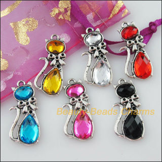 ☆Tibetan Silver Acrylic 5 Muilticolor Cat Charms Pendants - NEW