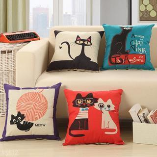 Cartoon Cat Print Cotton Linen Cushion Cover Throw Pillow Case Home Sofa Decor