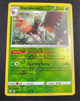 Decidueye 013/189 Darkness Ablaze Reverse Holo Rare Pokemon Card Near Mint