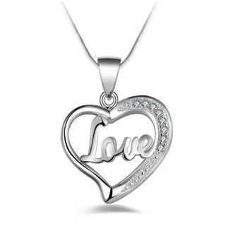 Elegant Love Heart Pendant Bib Statement Chain Necklace Fashion