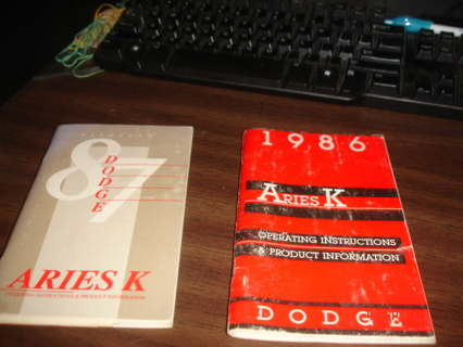 1986 and 1987 dodge aries k owners manuals.nice cond.in box1