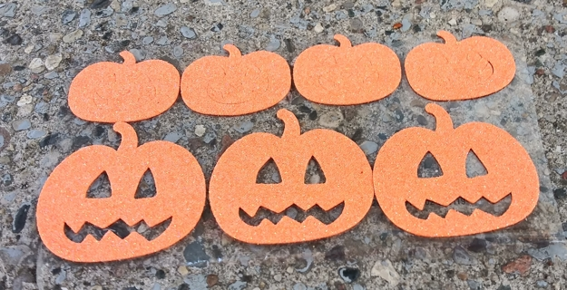 HALLOWEEN GLITTER FOAM RUBBER PUMPKIN STICKERS