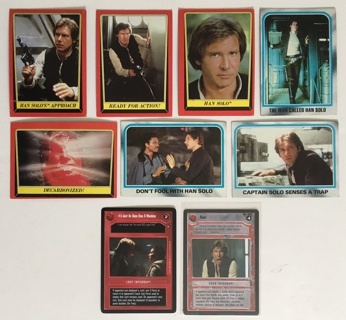 Han Solo Lot of 9 Star Wars Collectible Trading Cards Topps 1980 / 1983 and CCG 1995