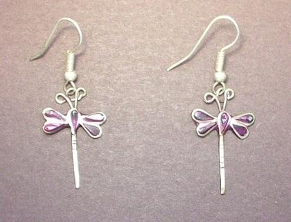 Vintage Silver & Abalone Shell Dragonfly Dangle Earrings