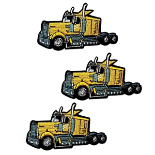 3-PACK SEMI TRUCK IRON ON PATCHES BIG RIG BADGES