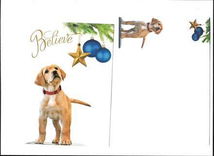 Vintage Christmas Card Unused With Envelope Cute Dog