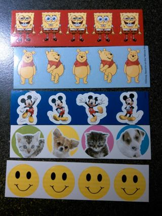 Set of stickers with FREE Shipping. Mickey, Pooh, Spongebob, Kittens and Happy Faces
