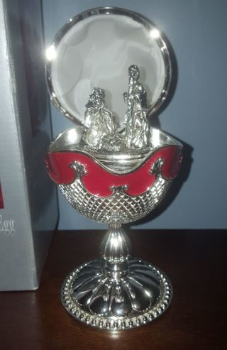 Large Red Enameled Nativity Silversmiths Silver plated Musical Egg