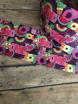 """OMG LOL Rainbow hippie 7/8"""" grosgrain ribbon 1 yard NEW"""