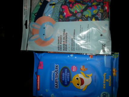 New 5 pack kids masks and handwipes