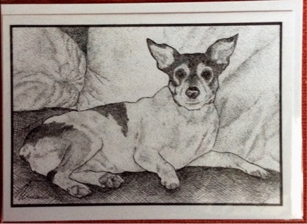 "RAT TERRIER DOG - 5 x 7"" Art Card by artist Nina Struthers - GIN ONLY"